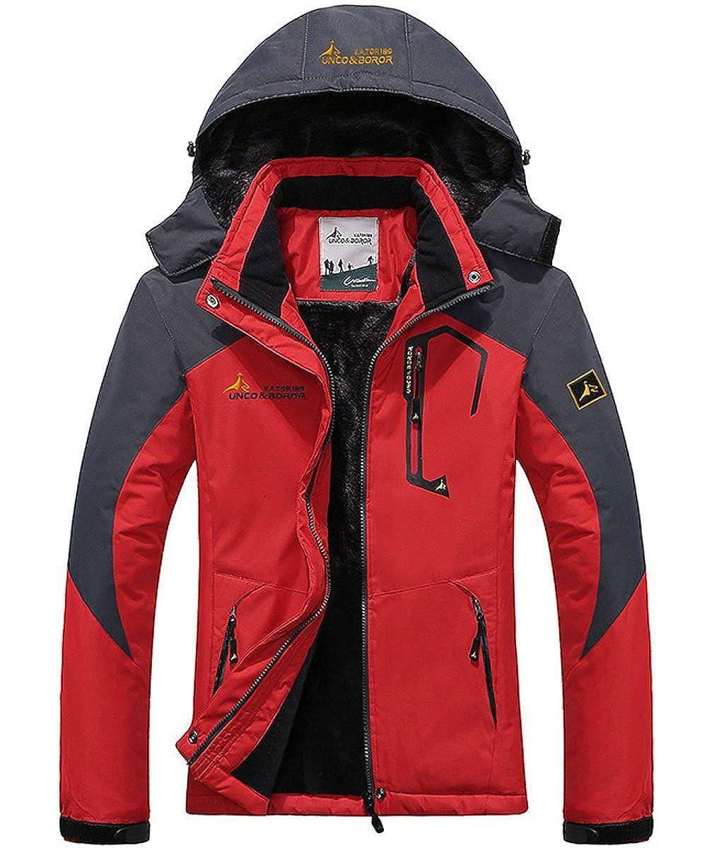 cd0120a6a80 donhobo Womens Waterproof Jacket Winter Warm Fleece with Hood Windproof  Camping Hiking Coat