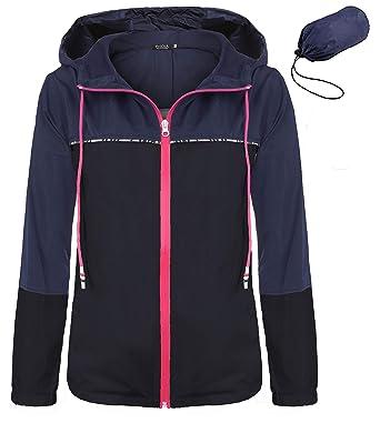 091fb871c FISOUL Women's Waterproof Raincoat Packable Active Outdoor Hooded  Lightweight Rain Jacket Windbreaker S-XXL(