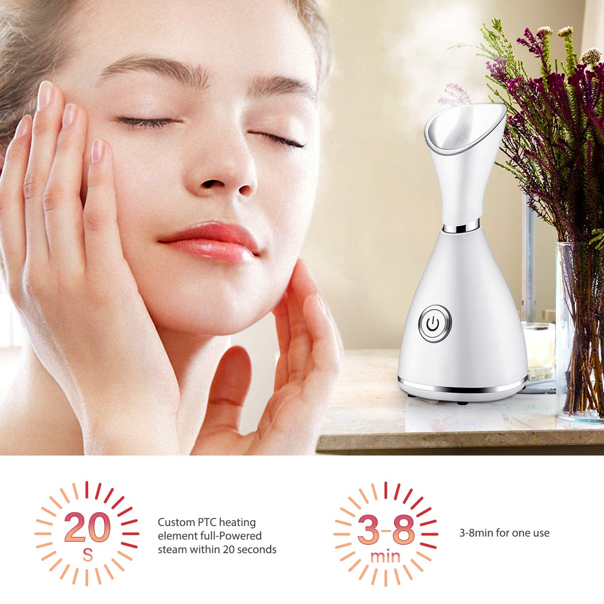 JERXUNY Nano Ionic Facial Steamer Warm Mist Face Steamer for Women Girls Moisturizing Pores Cleaning Home Facial 6 piece Prepare for Your Face Cleaning with Bonus Stainless Steel Kit Hair Band