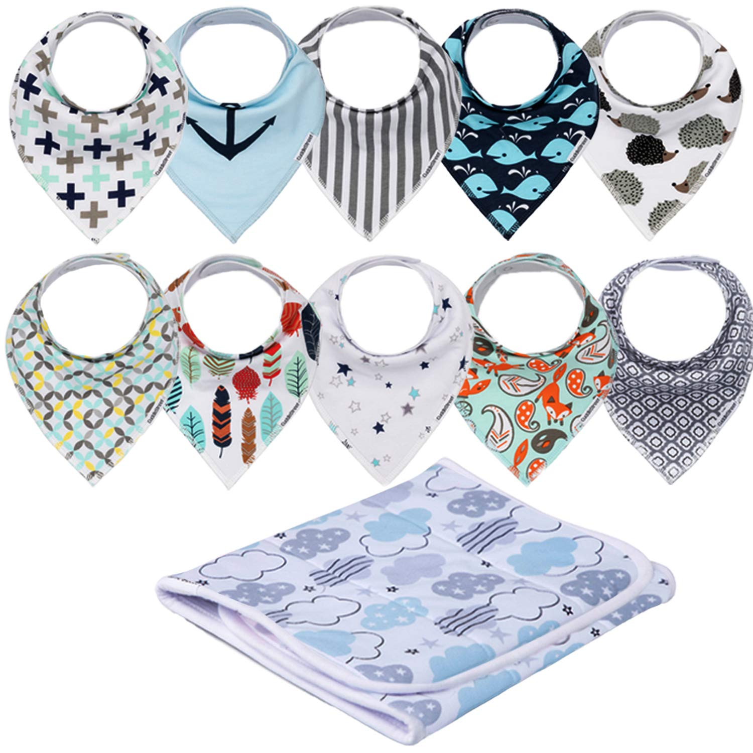 Newborn Baby Toddler Plaid Free Shipping Gender Neutral Bib in Green Gingham Baby Shower Gift Burp Cloth Drool Spit-Up