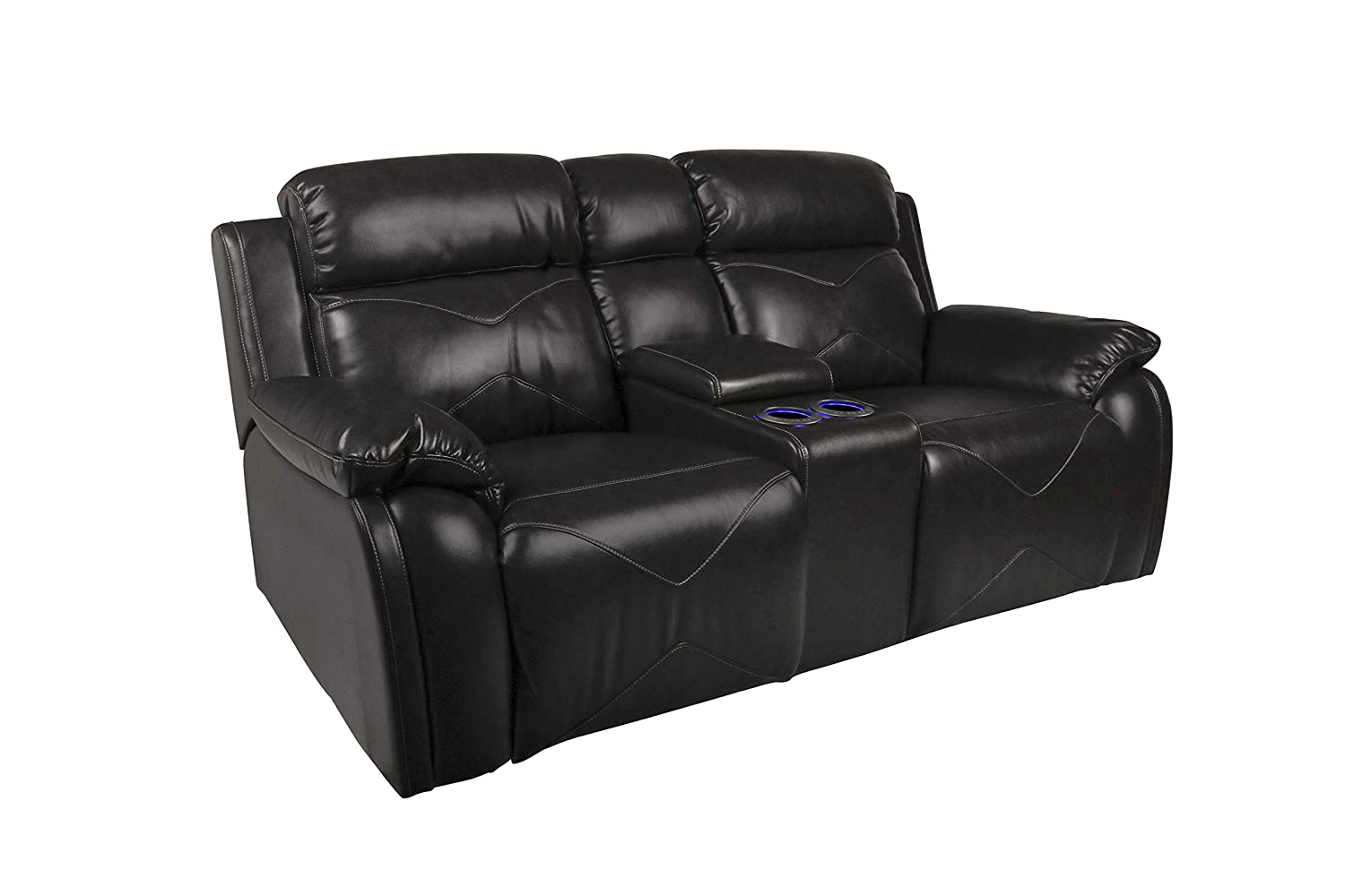 New Classic Furniture 22-2320-25PH-EBY Vigo Loveseat, Power, Ebony