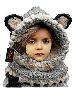 Sumolux Bonnet de Laine Tricote Renard Ensemble Bonnet Echarpe Hiver Pour  Enfant Unisexe 6e4ece47770