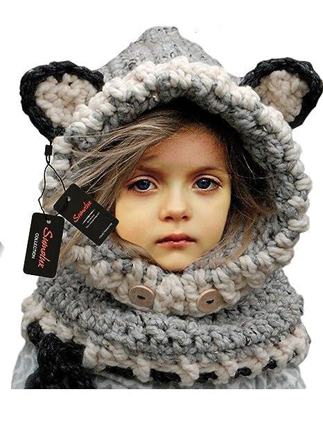 Sumolux Gorras Fox Sombreros Capucha Beanie Niños Niñas Bebés de Punto para  Invierno 69bd3d6d177