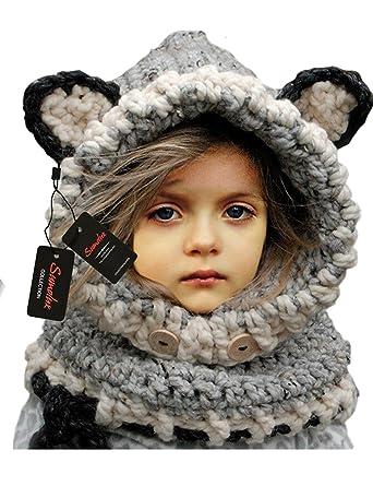 Sumolux Bonnet de Laine Tricote Renard Ensemble Bonnet Echarpe Hiver Pour  Enfant Unisexe 3e5a0131350