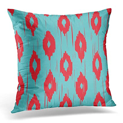 Amazon TORASS Throw Pillow Cover Ikat Turquoise And Red Tribal Inspiration Red And Turquoise Decorative Pillows
