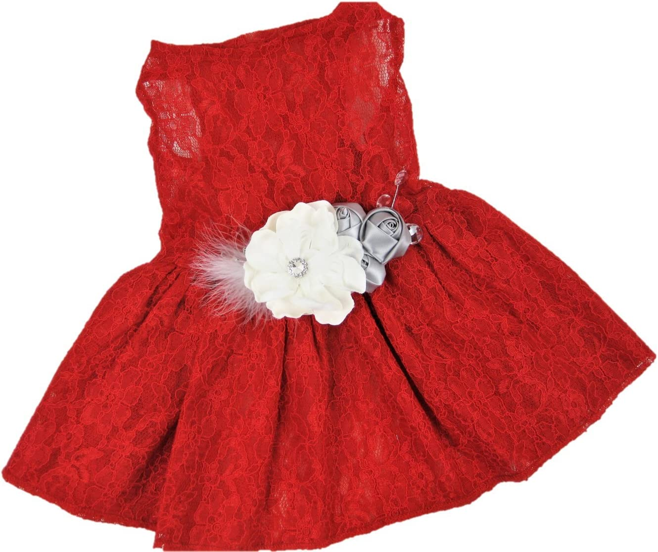 Holiday Dog Dress XS to XXXL Red Lace House of FurBaby Christmas Dog Dress