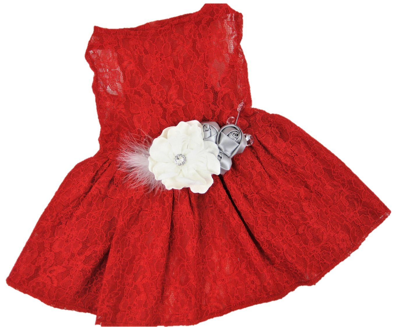 House of FurBaby Christmas Dog Dress | Holiday Dog Dress | Red Lace | XS to XXXL (XXXL) by House of FurBaby