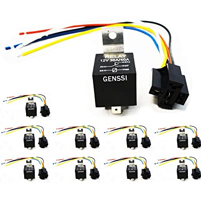 Genssi 30/40 AMP Auto LED Light Bar Relay Wiring Harness SPDT 12V 40A (10 Pack): Automotive