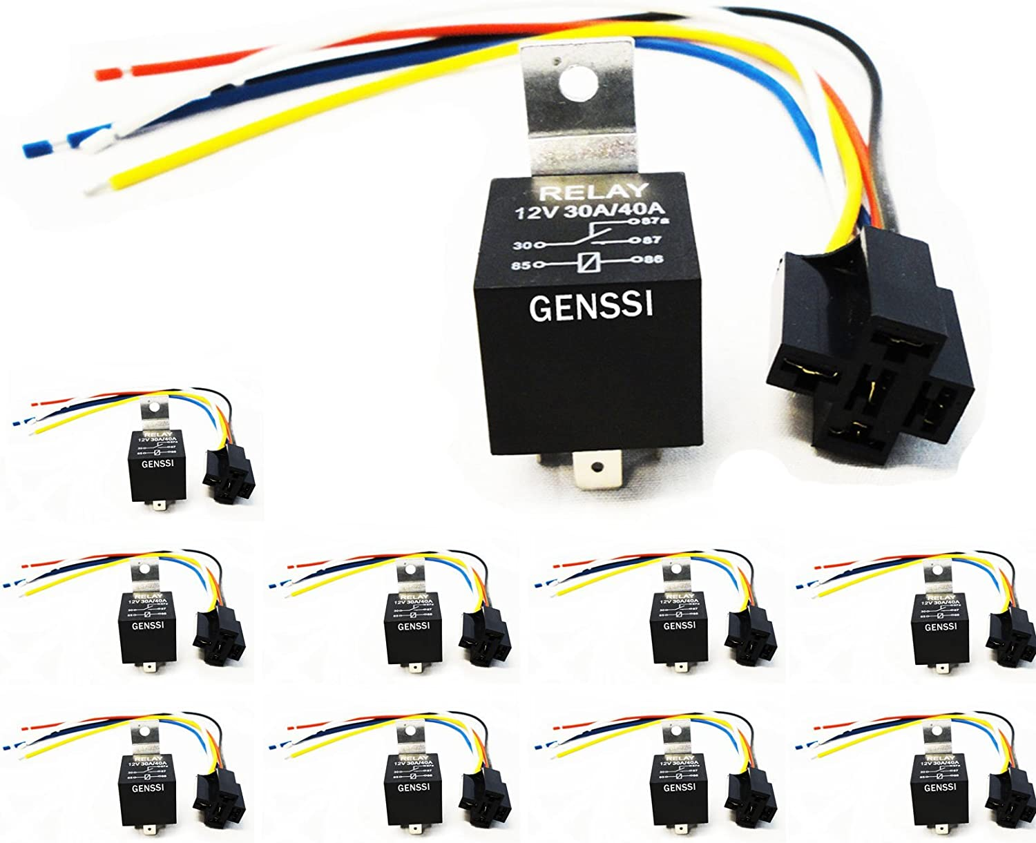 Amazon.com: Genssi 30/40 AMP Auto LED Light Bar Relay Wiring Harness SPDT  12V 40A (10 Pack): AutomotiveAmazon.com