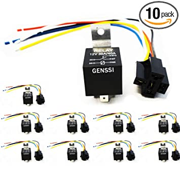 Genssi 30/40 AMP Auto LED Light Bar Relay Wiring Harness SPDT 12V 40A on