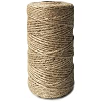 ILIKEEC Jute Twine 328 Feet 3 Ply 2mm Natural Arts Crafts Jute Rope Durable Packing String for Photos, Gifts and…