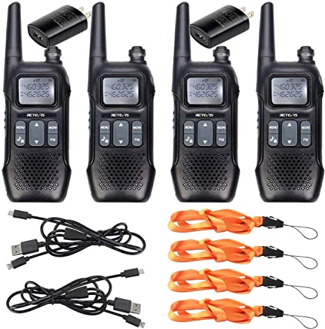 Handsfree Walkie Talkie Set With Charger NOAA 2 Way Radios Small 25 Mile 6 PACK