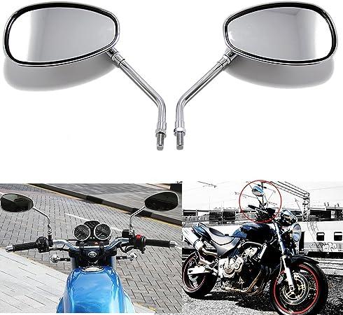 10mm Chrom Motorrad Lenker Rückseiten Spiegel Für Honda Shadow Kawasaki Suzuki Chopper Roller Auto