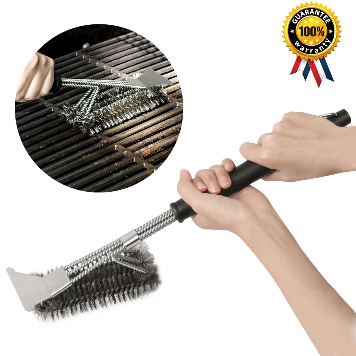 AMILE Grill Brushes, Barbecue Brushes 18'' Stainless Steel Woven BBQ Cleaning Scraper Wire 3 in 1 for Grills, Durable & Effective Barbecue Tool