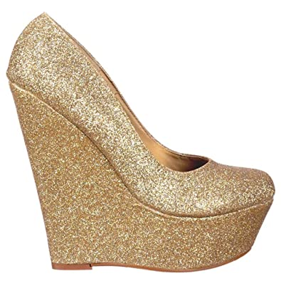 18daae7122c8 Onlineshoe Women s Gold Glitter Wedge Platform Shoes - Gold Glitter UK 6 -  EU39 Gold Fine