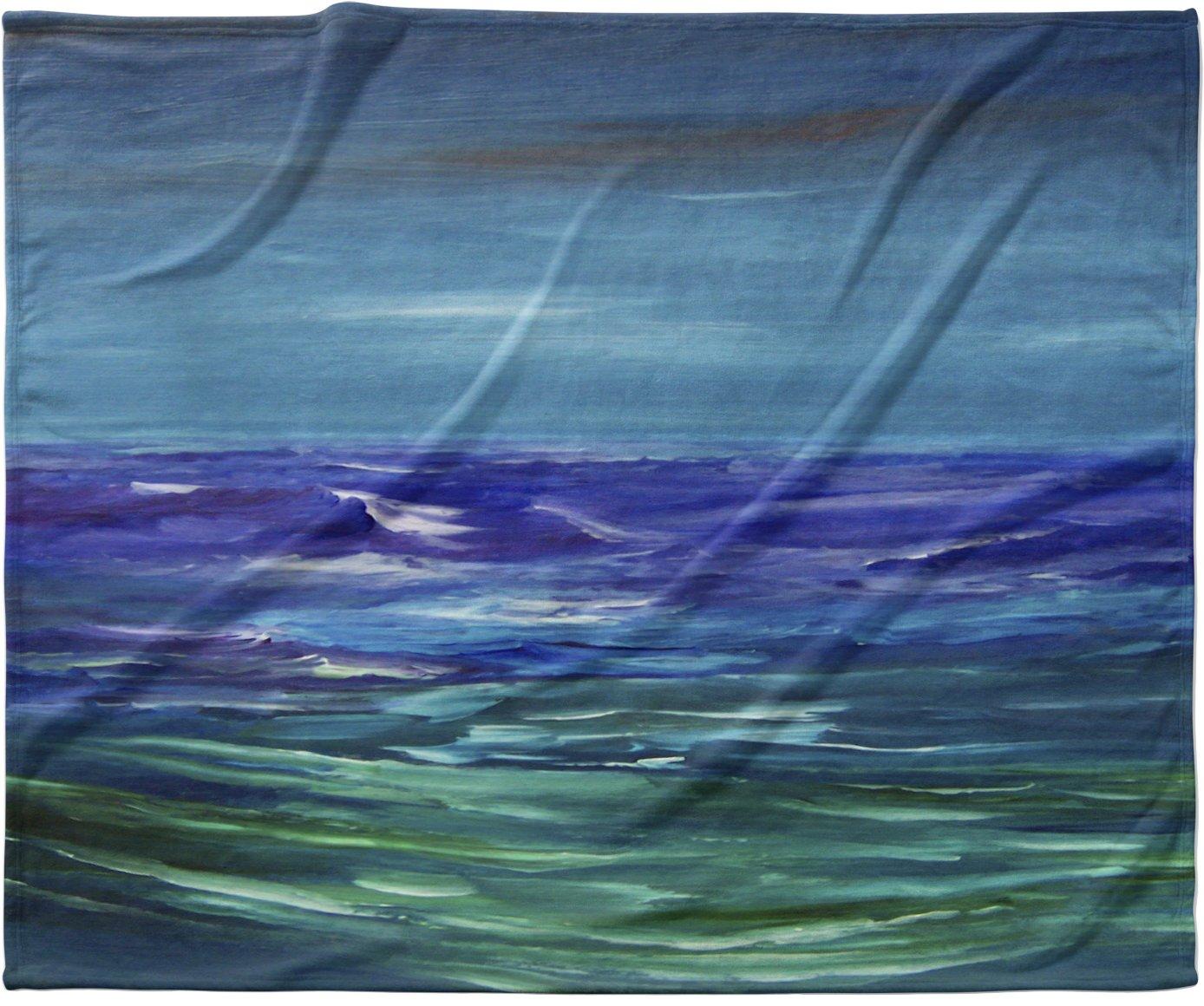 40 x 30 KESS InHouse Cyndi Steen Moonlit Waves Blue Purple Fleece Baby Blanket