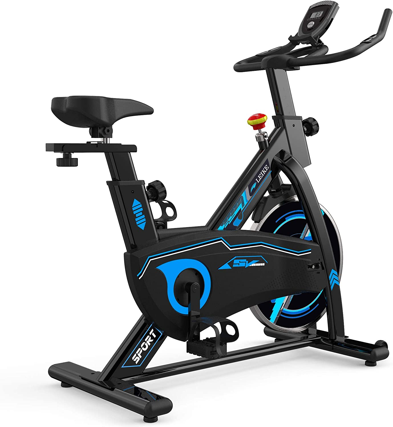leikefitness Indoor Cycling Bike Stationary Easy to Assemble Ultra-Quiet Exercise Bike with LCD Display for Home Cardio Workout
