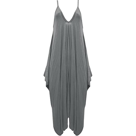 f1e1c7c21661 Image Unavailable. Image not available for. Color  Womens Hareems V Neck  Harems Dress All in One Jumpsuit Romper Ladies Plus Size Grey