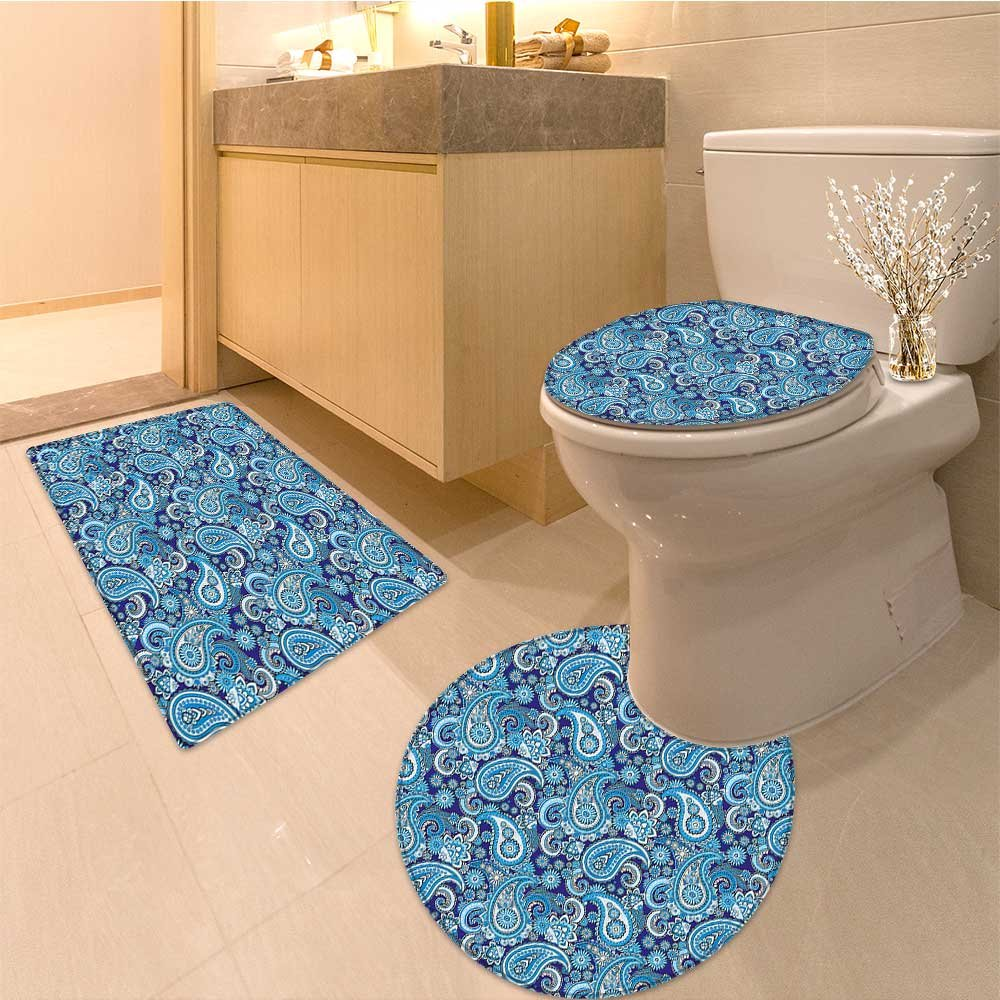 3 Piece Anti-slip mat set Traditiona Asian Pattern with d and Dots Blue Backgrounded Artwork Fabric Set with H Non Slip Bathroom Rugs by NALAHOMEQQ (Image #7)