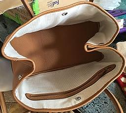 Ainifeel Women's Genuine Leather Top Handle Handbag Shopping Bag Tote