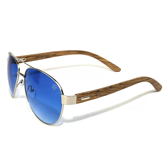 MTBALI - Gafas de sol - Madera de calidad - Plata cromado ...
