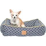 Mog & Bone Bolster Dog Bed Navy Ikat Print Large