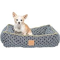 Mog & Bone Bolster Dog Bed Navy Ikat Print Small