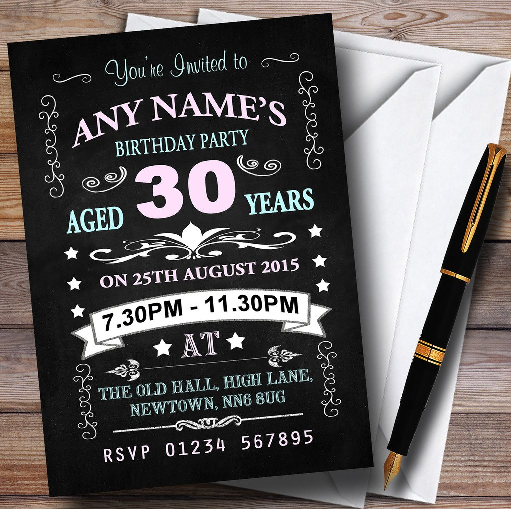 80 Invites & Envelopes Vintage Chalkboard Style Pink And bluee 30Th Birthday Party Personalised Invit...