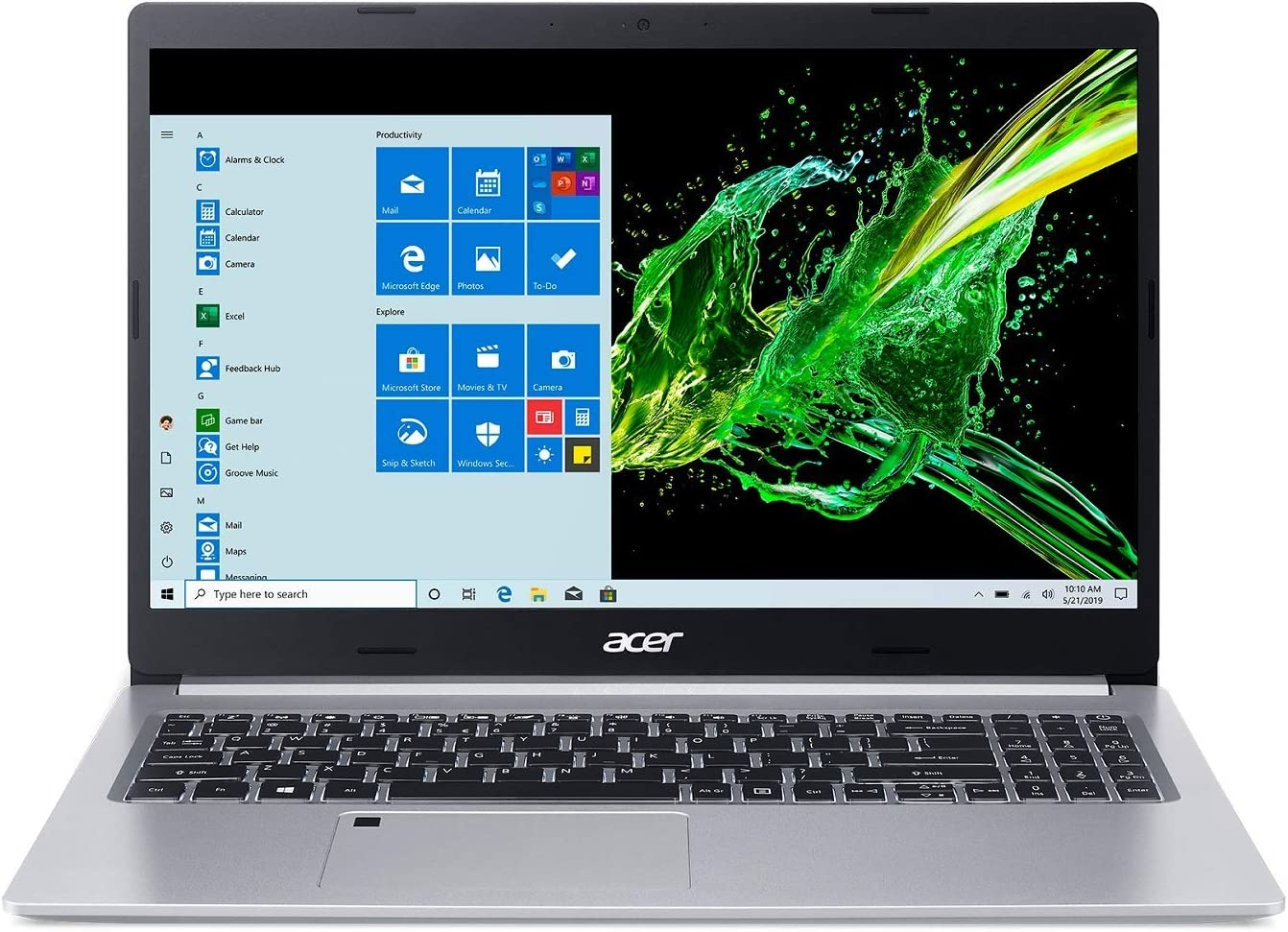"Acer Aspire 5 A515-55-56VK, 15.6"" Full HD IPS Display, 10th Gen Intel Core i5-1035G1, 8GB DDR4, 256GB NVMe SSD, WiFi 6, HD Webcam, Fingerprint Reader, Backlit Keyboard, Windows 10 Home (Renewed)"