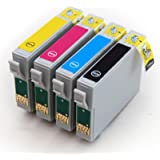1 Set : 4 High Capacity Compatible InK Cartridges Multipack T0715 - T0711 T0712 T0713 T0714 for Epson Stylus Printers B40W BX300F BX310FN BX3450F BX600FW BX610FW CX4300 D78 D92 D120 DX4000 DX405 DX4050 DX4400 DX4450 DX5000 DX5050 DX5500 DX6000 DX6050 DX7000F DX7400 DX7450 DX8000 DX8400 DX8450 DX9400F S20 SX110 SX115 SX200 SX205 SX209 SX210 SX215 SX218 SX400 SX405 SX410 SX415 SX510W SX515W SX600FW SX610FW
