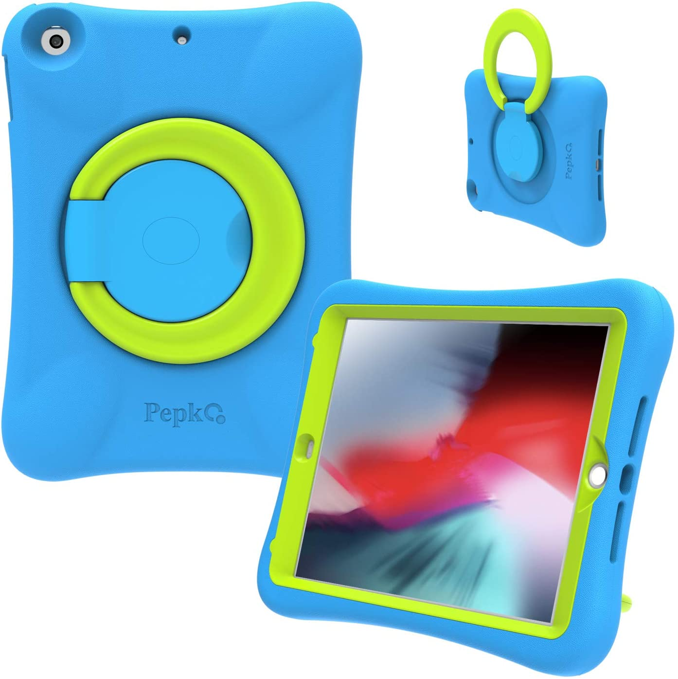 PEPKOO iPad 9.7 2017/2018 Case for Kids - Lightweight Shockproof Handle Stand Rugged Cover for Apple iPad 6th Generation/5th Gen/Air/Air 2 (Blue/Green)