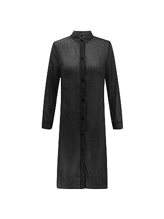 913cd86e8a3e Tootless-Women Long-Sleeve Stand Collar Open Front Potlka Dot ...