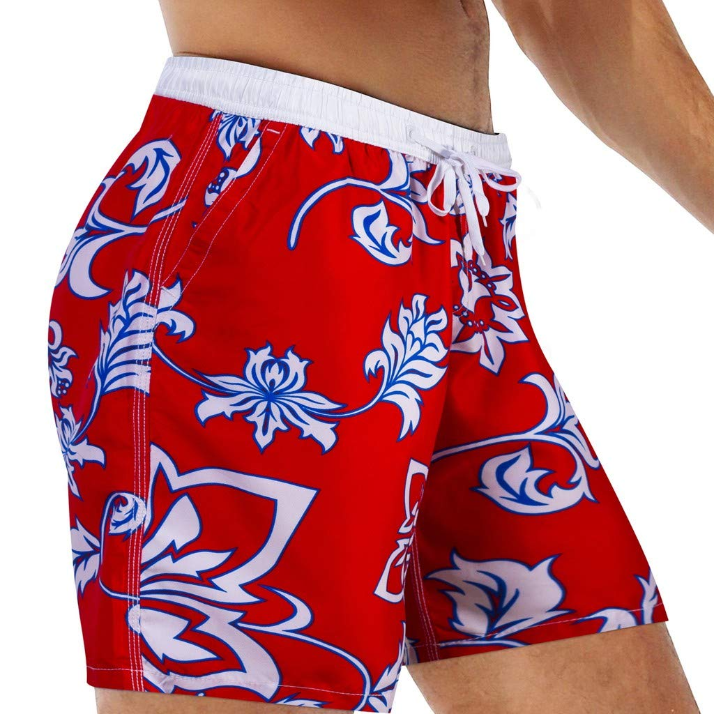 NUWFOR Fashion Men Breathable Trunks Pants Beach Print Running Swimming Underwear(Red,US L Waist:36-39'') by NUWFOR (Image #1)