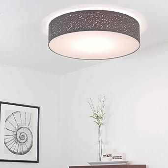 Graue Deckenleuchte Rund O60cm Modern Stoff Dezent 4 Flammig Karen Schlafzimmer Wohnzimmer Deckenlampe Amazon De Beleuchtung