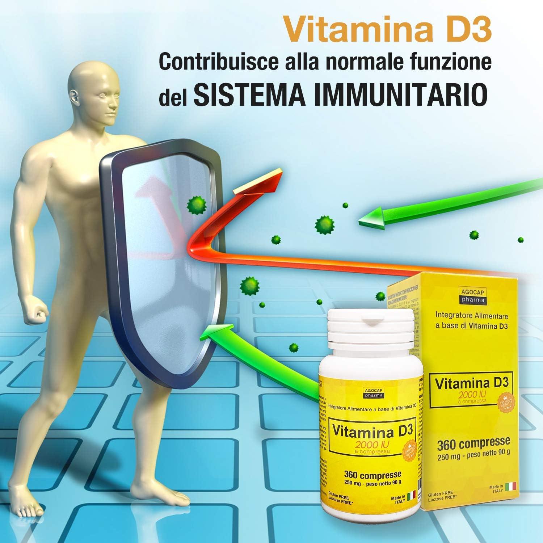 VITAMINA D3 integratore alto dosaggio 2000 UI 360 COMPRESSE – Prodotto in ITALIA