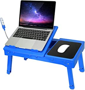 Laptop Table for Bed, Multi-Functional Laptop Bed Table Tray with Internal Cooling Fan & 2 Independent Laptop Stands-Foldable & 3 Different Height Laptop Desk-LED Lamp