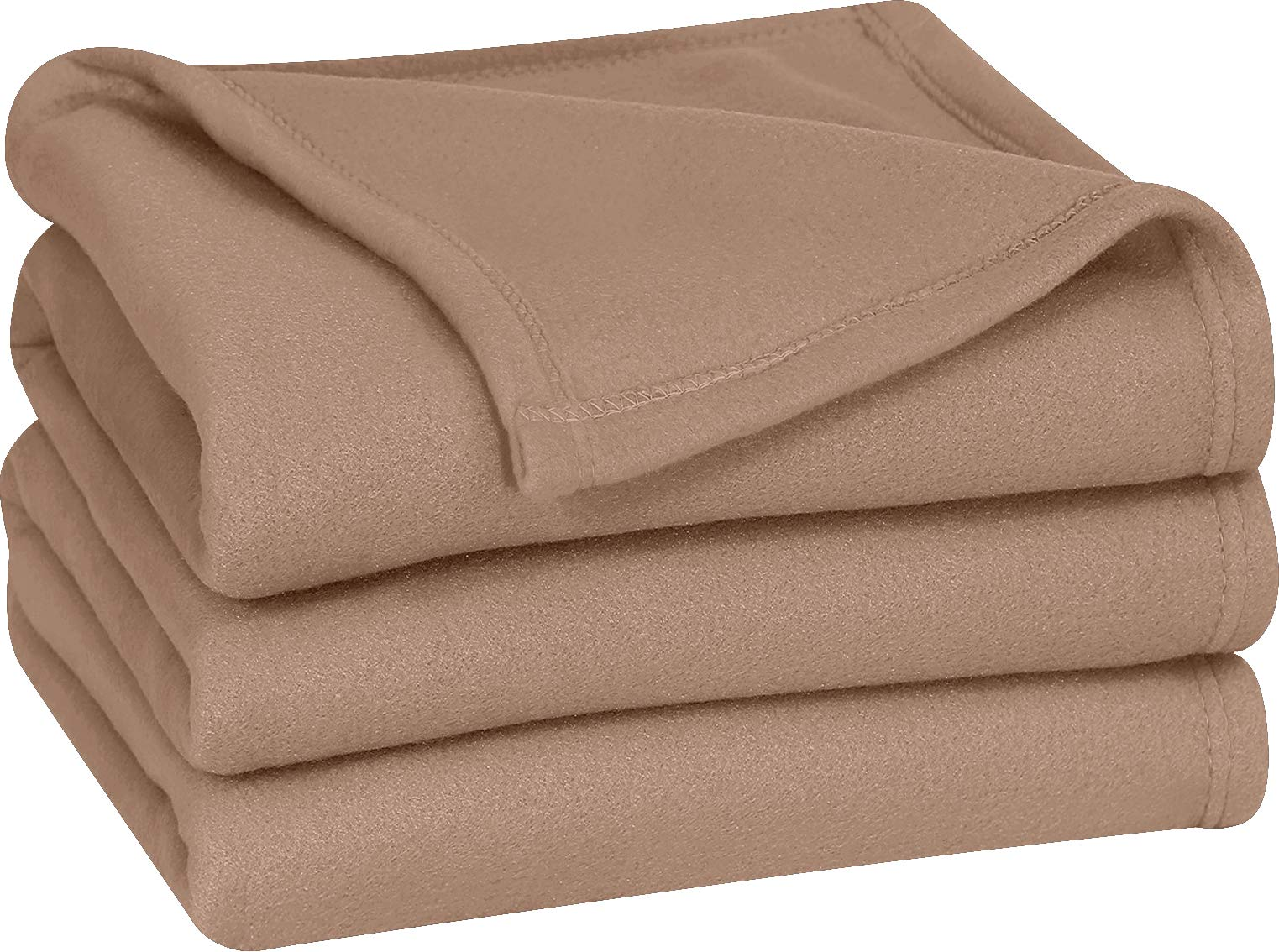 Utopia Bedding Polar Fleece Blanket (Twin, Tan) - Extra Soft Brush Fabric - Super Warm Bed Blanket - Lightweight Couch Blanket - Easy Care