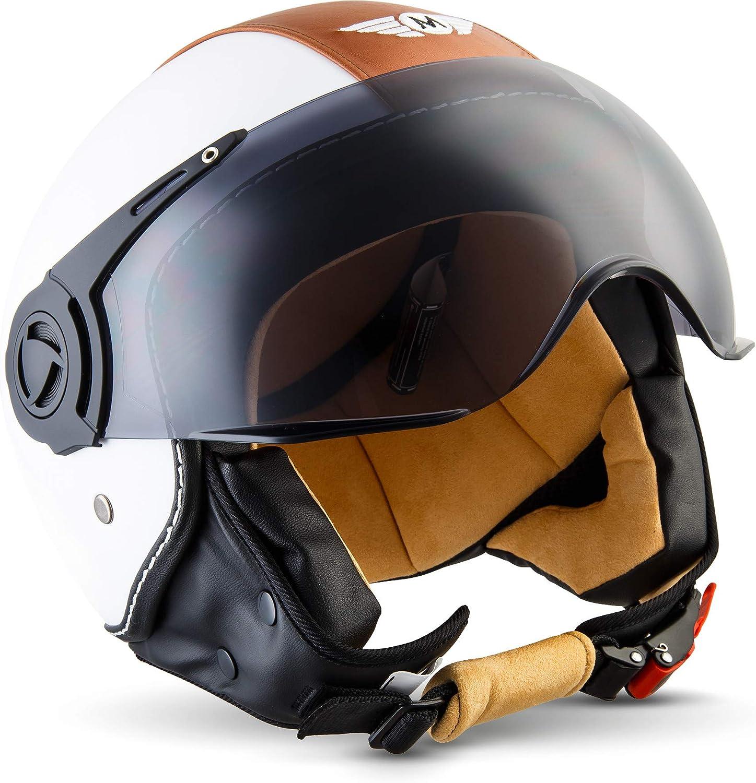 Moto Helmets H44 Vintage White Jet Helm Motorrad Helm Roller Helm Scooter Helm Bobber Mofa Helm Chopper Retro Cruiser Vintage Pilot Biker Ece Visier Schnellverschluss Tasche M 57 58cm Auto