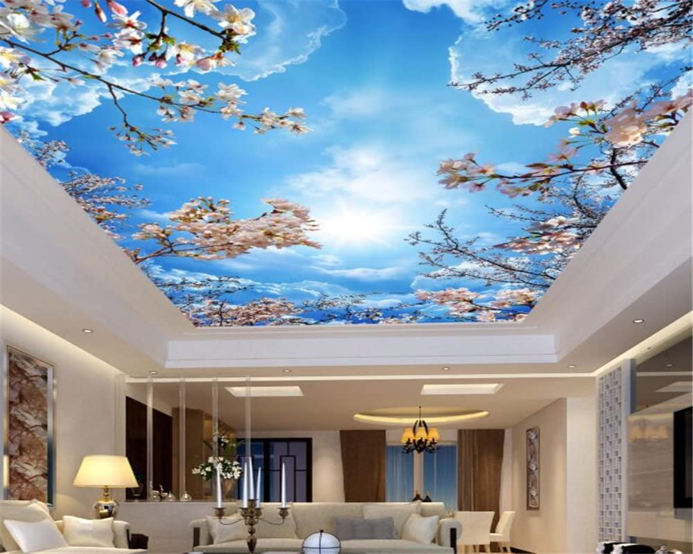 Amazon Com Mznm Custom 3d Blue Sky White Clouds Cherry Ceiling Roof Murals Wallpaper Living Room 3d Wallpaper Home Decoration 200x140cm