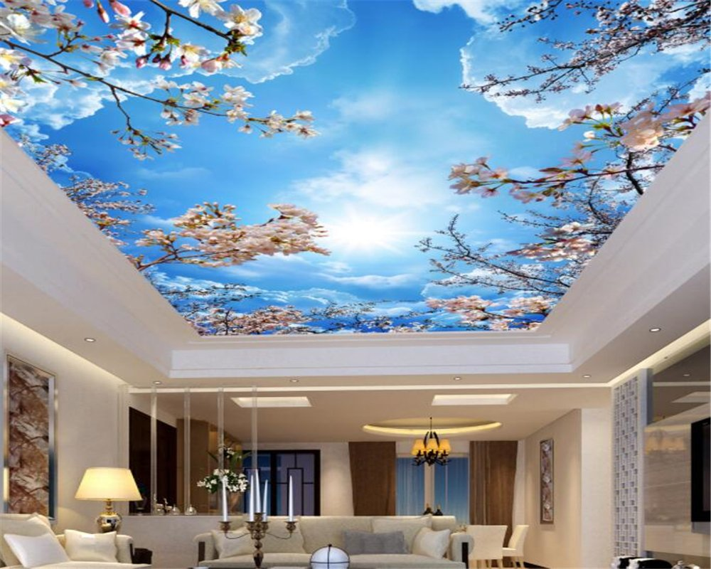 Mznm Custom 3D Blue sky white clouds cherry ceiling roof Murals Wallpaper Living Room 3d wallpaper Home decoration 200X140cm