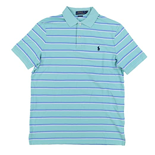 Polo Ralph Lauren Mens Classic Fit Pony Logo Striped Polo Shirt (S,  GreenBlu) 8e0a3d93f4