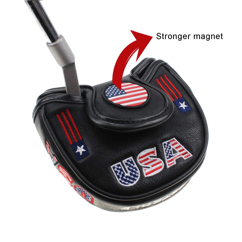 Crestgolf Golf USA America マレット型パターカバー ヘッドカバー オデッセイ用 スマートなデザインと完璧な品質 B07QQQGY2Z ブラック