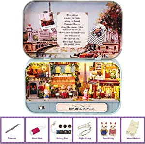 MAGQOO 3D Wooden Dollhouse Miniature DIY Doll House Kit with Furniture,1:24 DIY Box Theater Kit (Roaming in Paris)