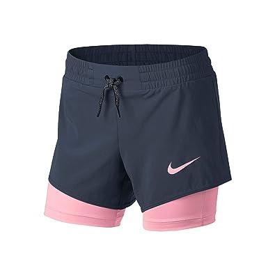 494228311f Amazon.com: Nike Girls' 2-in-1 Shorts (Medium, Thunder Blue/Pink ...