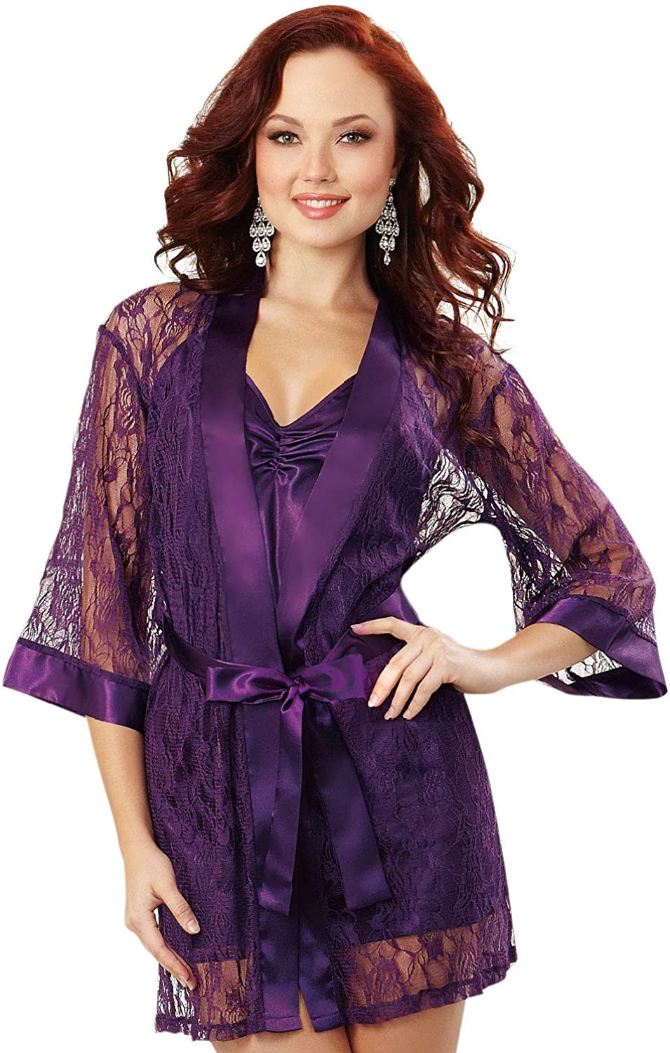 Dreamgirl Women S Stretch Lace Robe Dressing Gown Purple Plum 001 Small Size Small Amazon Co Uk Clothing
