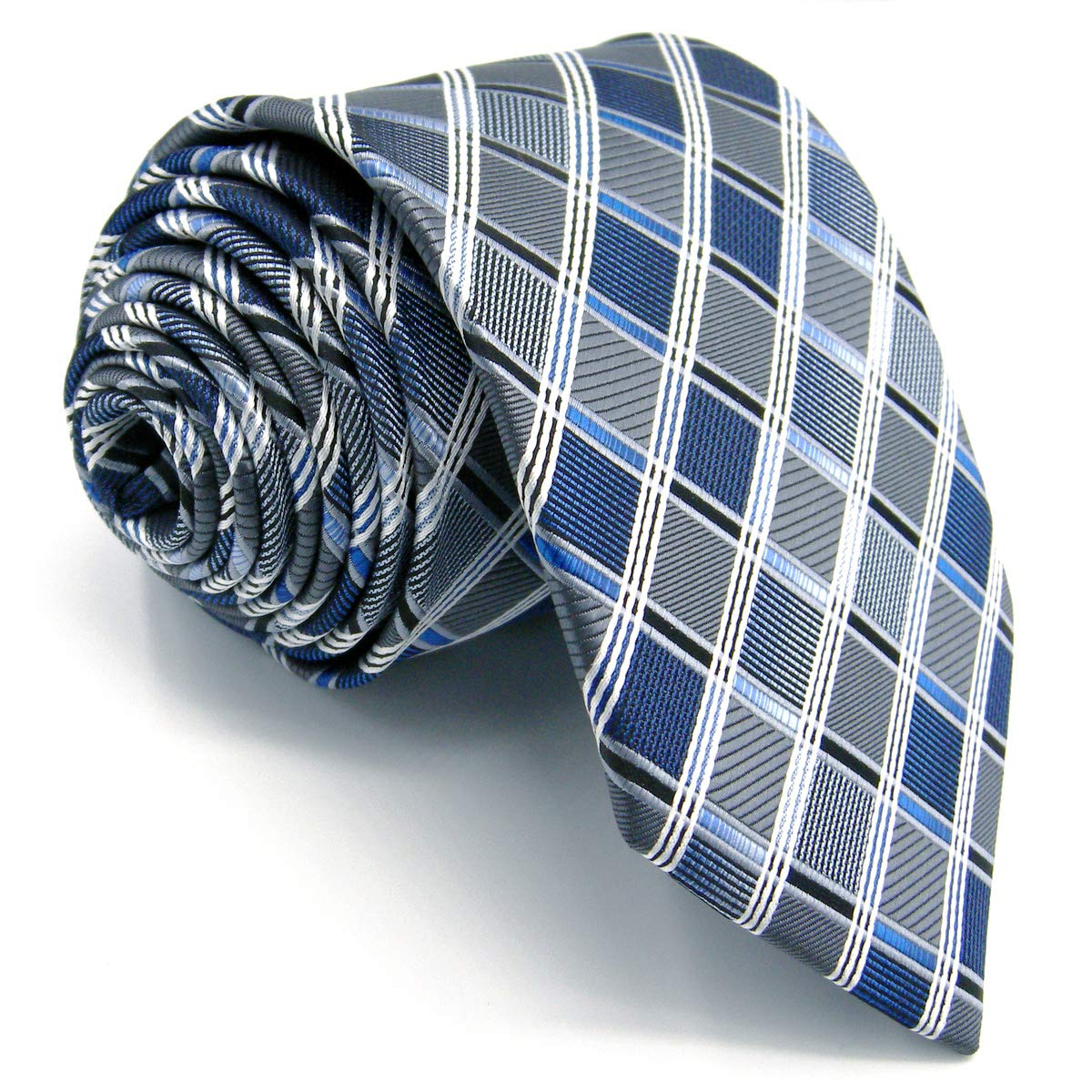 Shlax&Wing Skinny Ties For Men Blue Checkered Checks Silk Neckties Suit Shlax & Wing AZ17