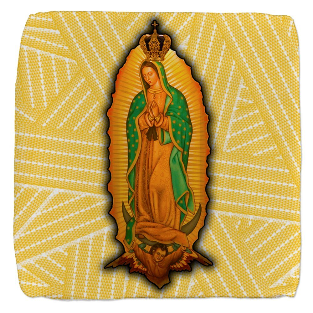18 Inch 6-Sided Cube Ottoman Virgen de Guadalupe by Royal Lion