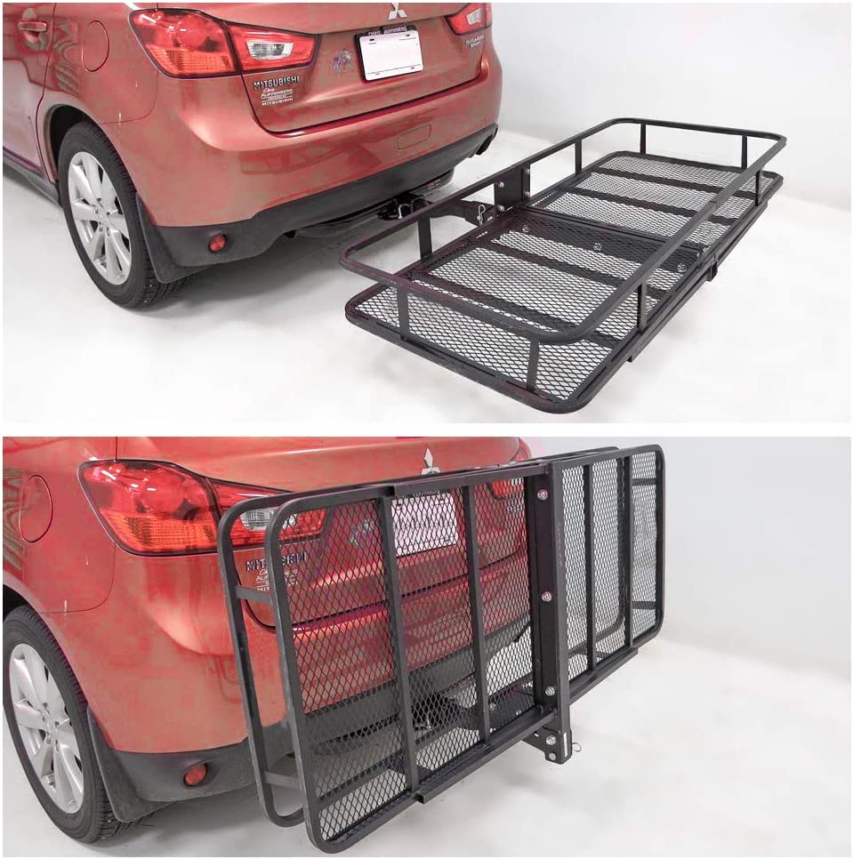 FieryRed Folding Cargo Carrier Luggage Basket Capacity Basket Trailer Hitch Cargo Carrier with Cargo Carrier Net /& Hitch Stabilizer Fits 2-Inch Receiver 500 lbs