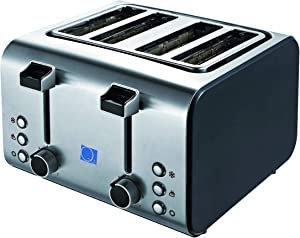Q2 Deluxe 4 Slice Brushed Stainless Steel Toaster – 4 Extra Wide Slots with Defrost, Reheat and Cancel Settings, Adjustable Browning Control, Easy Clean Crumb Tray, Self-Centering Function, Commercial Design