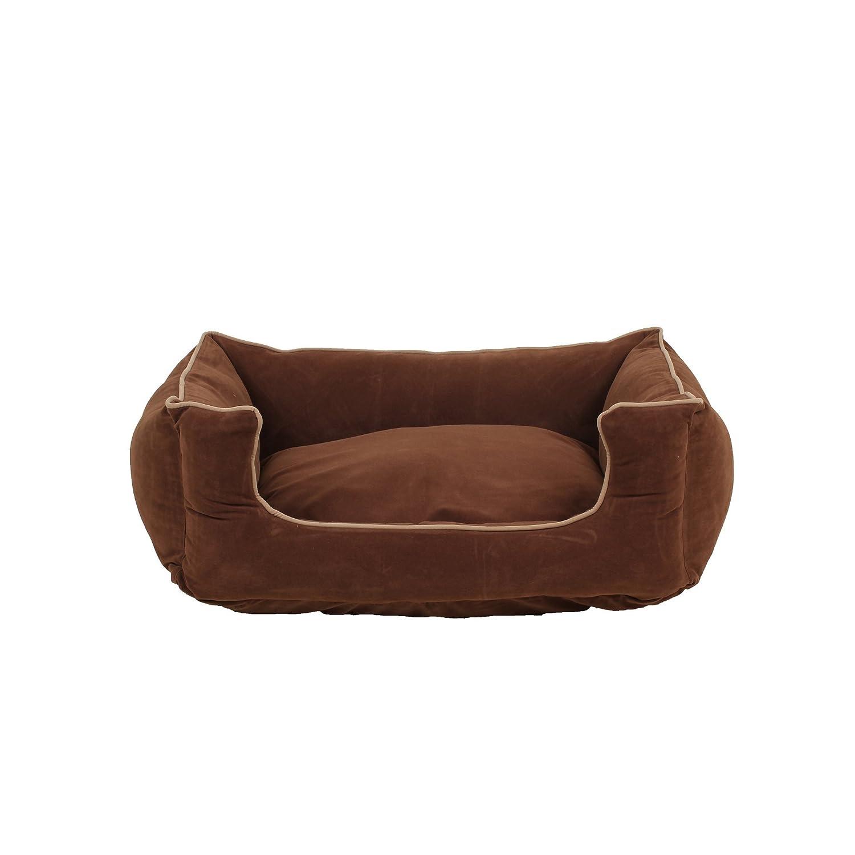Carolina Pet Microfiber Kuddle Lounge Low Profile Bed for Pets, Small, Chocolate Khaki